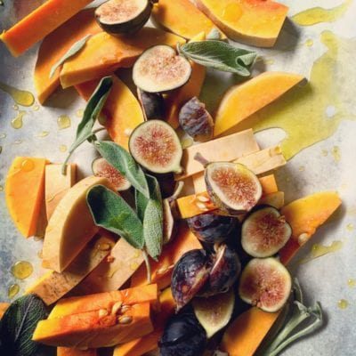 roasted butternut squash with figs + sage