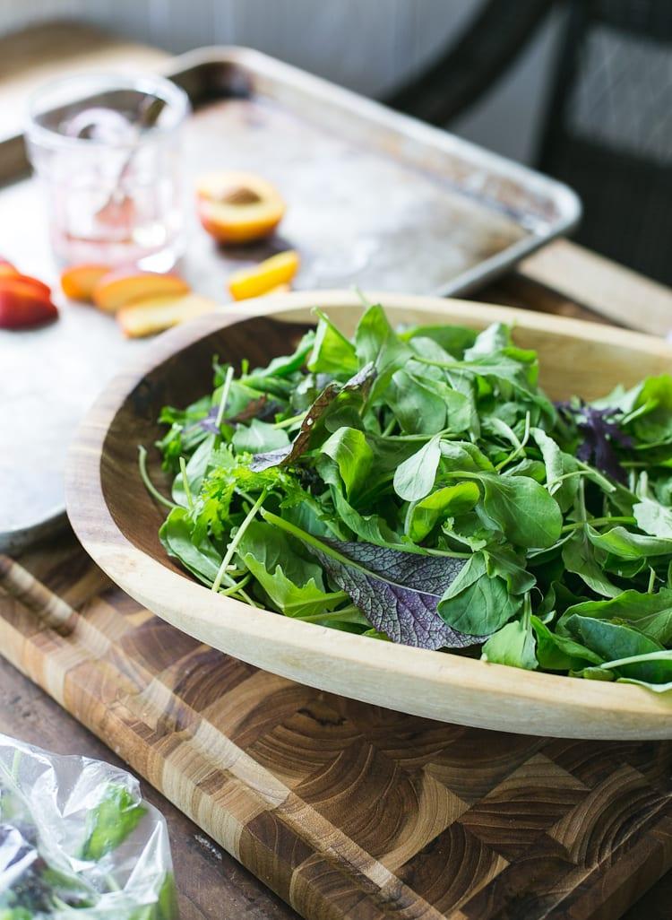 Simple Arugula Salad with Nectarines + Pine nuts