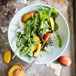 Arugula Salad with Nectarines + Pinenuts