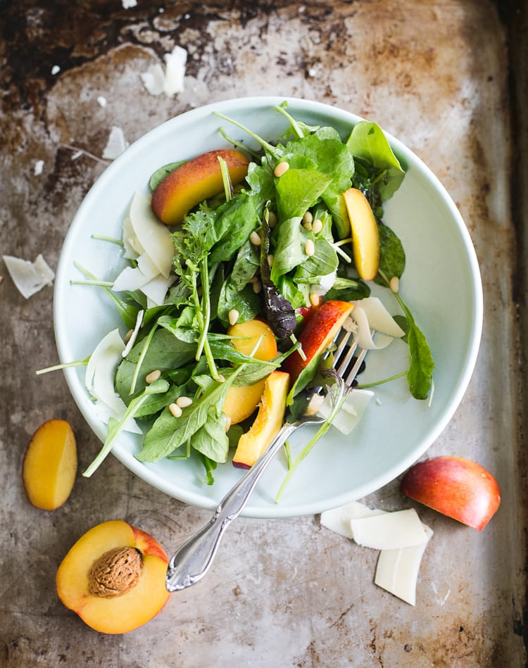 Simple Arugula Salad with Nectarines + Pine nuts