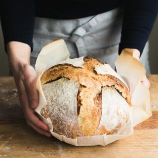 Get this easy no-knead recipe for homemade sourdough bread