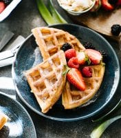 Cinnamon Sugar Sourdough Waffles | theclevercarrot.com