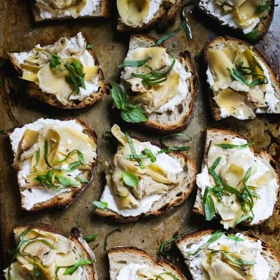 Sourdough Crostini With Ricotta, Artichokes & Mint