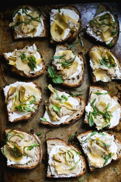 Sourdough Crostini with Ricotta and Artichokes
