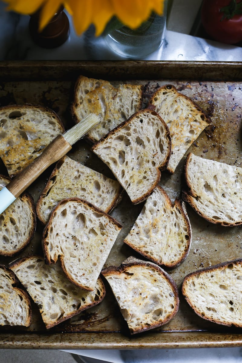 Cut Slices of Sourdough Crostini | theclevercarrot.com