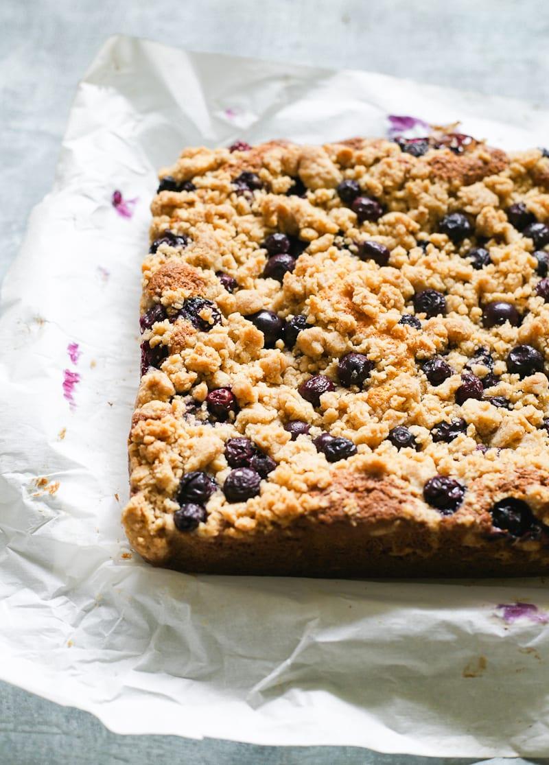 Whole Sourdough Blueberry Crumb Cake