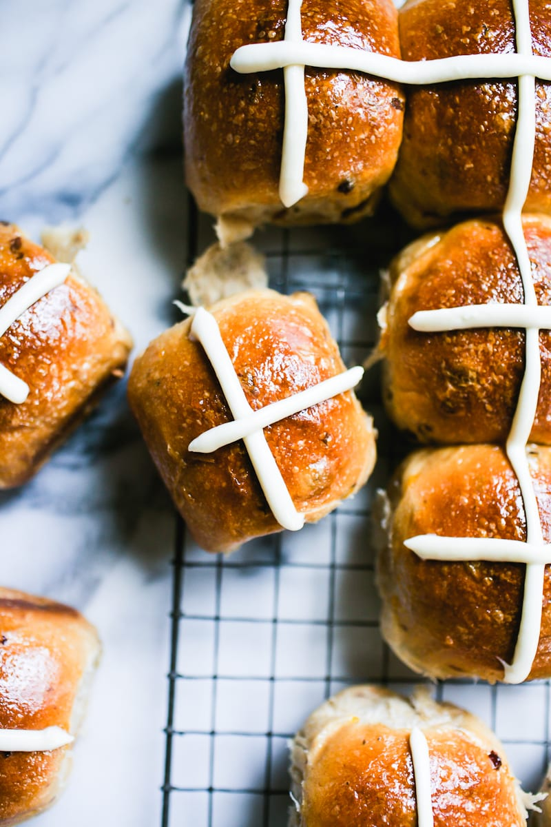Sourdough hot cross buns with cream cheese icing