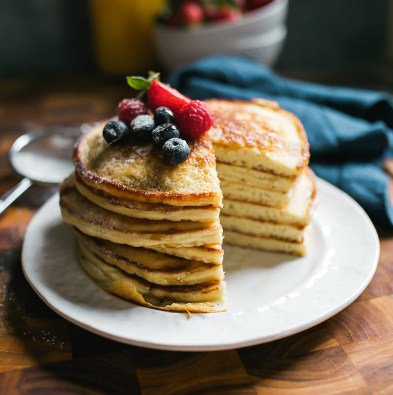 Stack of Sourdough Pancakes with Berries | theclevercarrot.com
