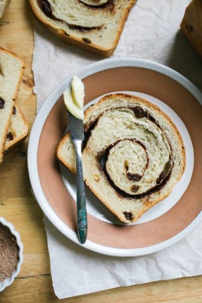 Slice of Sourdough Cinnamon Raisin Bread with Butter
