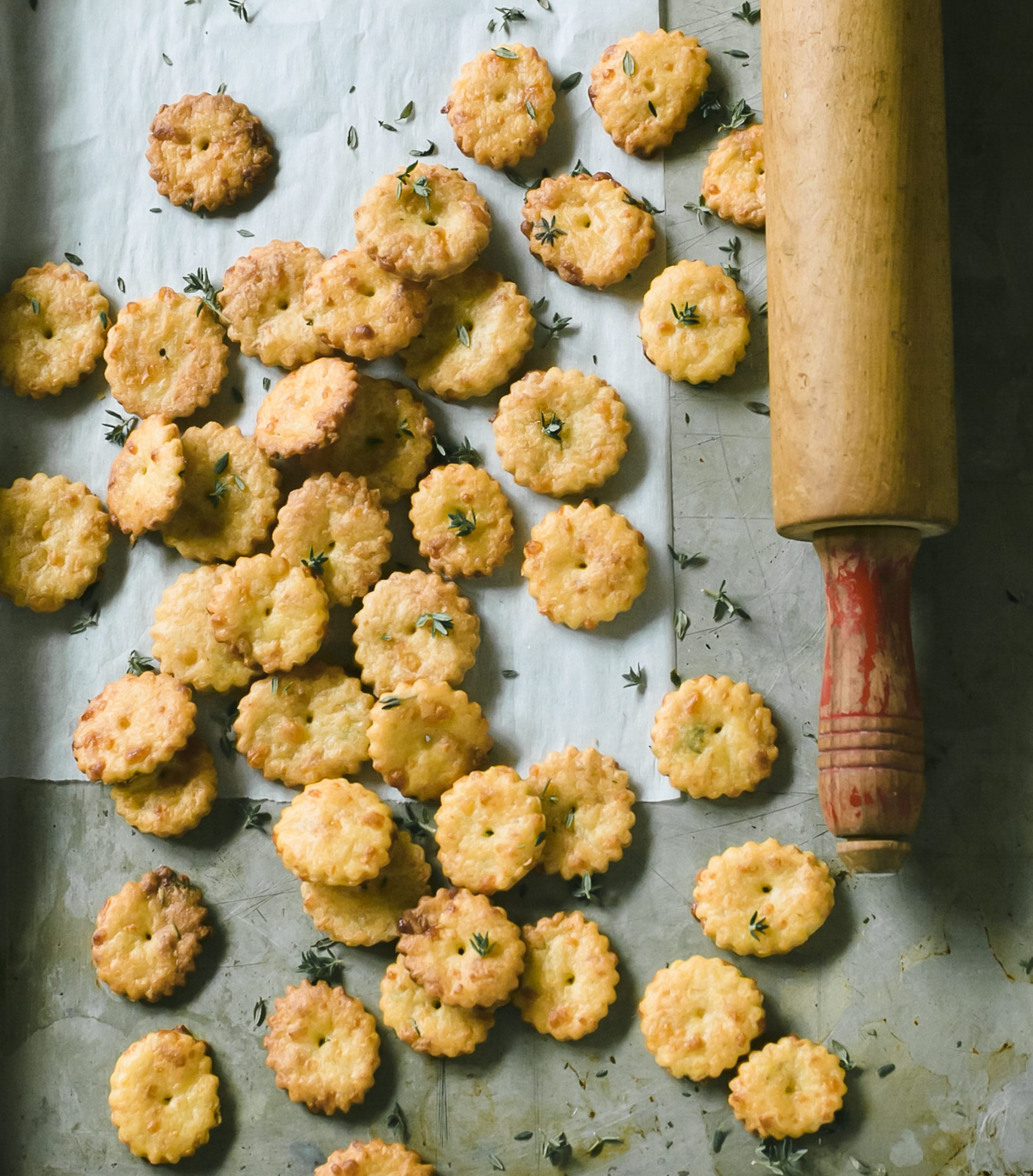Tray of puffed sourdough crackers with gruyere and thyme