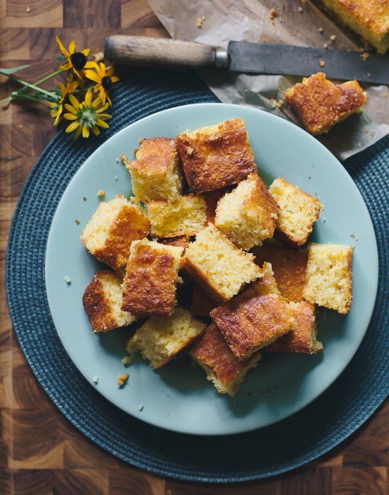 Plate of sourdough cornbread squares