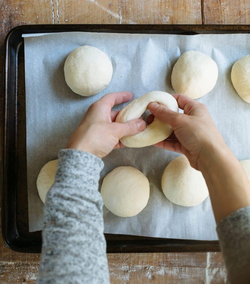 Stretching and shaping sourdough bagel dough