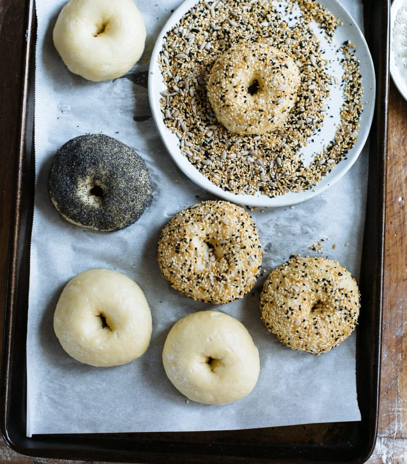 Sourdough bagels with everything bagel topping in a boel